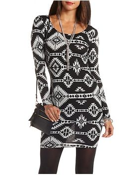 aztec-print-bodycon-midi-dress by charlotte-russe
