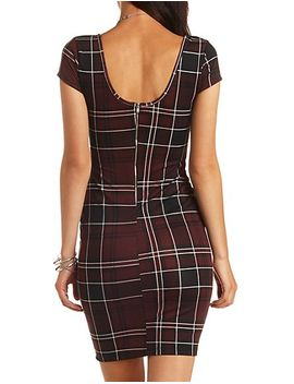 cap-sleeve-plaid-bodycon-midi-dress by charlotte-russe