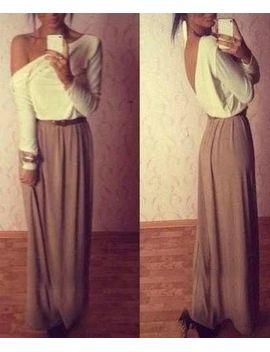 ladylike-one-shoulder-long-sleeve-color-block-chiffon-backless-dress-for-women by sammy-dress