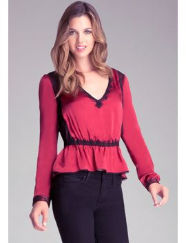 lace-inset-peplum-top by bebe