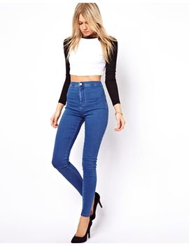 asos-rivington-high-waist-denim-jeggings-in-mid-wash-blue by asos-collection