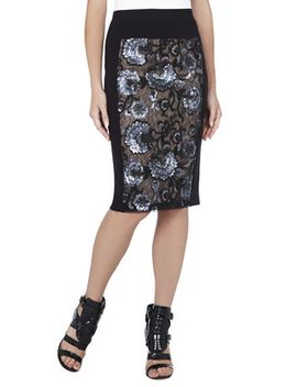aideen-floral-sequined-pencil-skirt by bcbgmaxazria