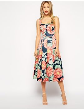 asos-structured-midi-dress-in-vintage-floral by asos-collection