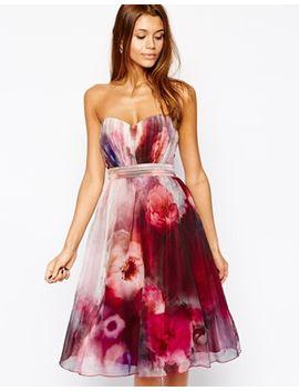 little-mistress-bandeau-midi-prom-dress-in-blurred-floral-print by little-mistress