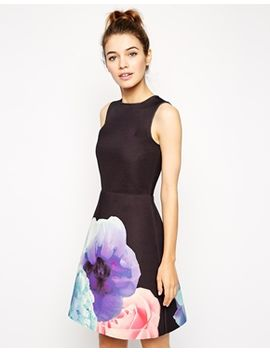 asos-skater-dress-with-a--line-in-bonded-floral-placement-print by asos-collection