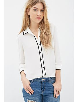 contrast-piped-chiffon-blouse by forever-21