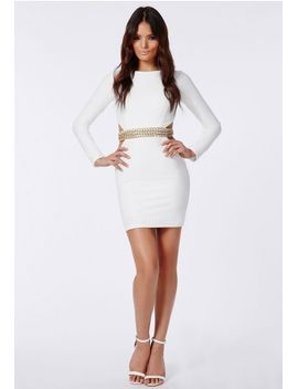 nicole-x-cut-out-chain-detail-dress-white by missguided