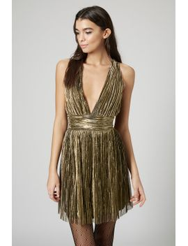 pleated-halterneck-skater-dress by topshop