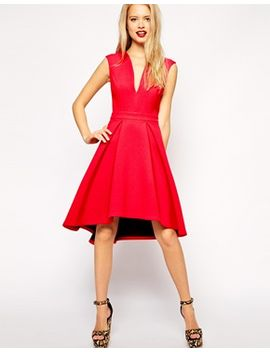 asos-premium-bonded-midi-dress-with-plunge-neck by asos-collection