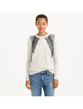 colorblock-lace-panel-sweater by jcrew