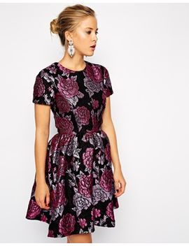 asos-structured-dolly-skater-dress-in-floral-jacquard by asos-collection