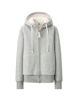 women-faux-shearling-sweat-long-sleeve-full-zip-hoodie by uniqlo