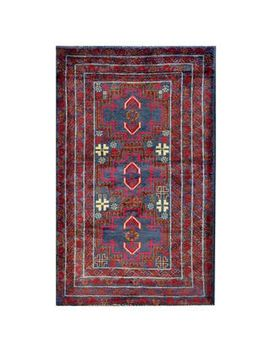 herat-oriental-semi-antique-afghan-hand-knotted-tribal-balouchi-blue_-red-wool-rug-(210-x-49) by herat-oriental