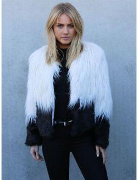color-block-long-sleeve-shaggy-faux-fur-coat by choies