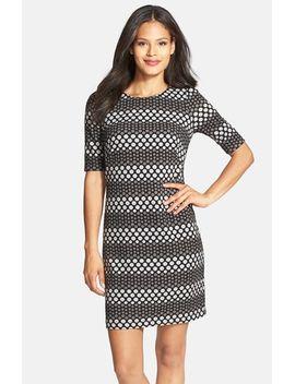 dot-stripe-jacquard-sheath-dress by donna-ricco