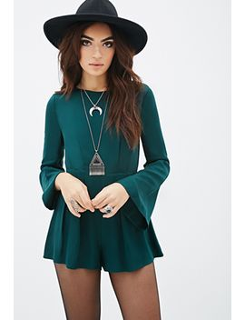 pleated-bell-sleeve-romper by forever-21