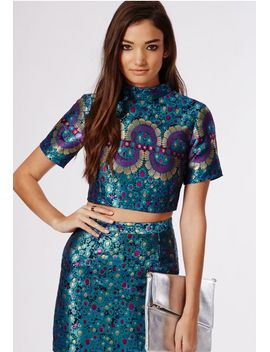 metallic-printed-cut-out-crop-top-teal by missguided