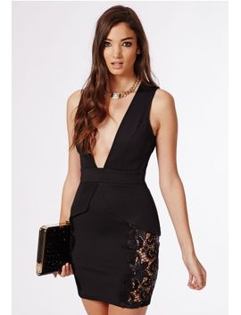 aisha-crepe-side-lace-peplum-plunge-bodycon-dress-black by missguided