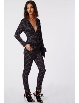 isabelle-premium-printed-wrap-jumpsuit-black by missguided