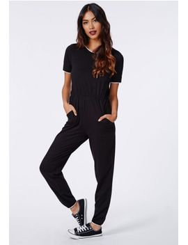 gillianna-jersey-sports-ribbed-jumpsuit-black by missguided