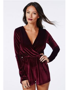 tammy-luxe-velvet-wrap-playsuit-oxblood by missguided