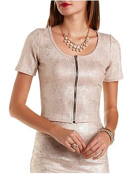 zip-up-foiled-metallic-crop-top by charlotte-russe