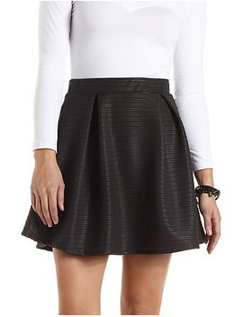 ribbed-pleated-skater-skirt by charlotte-russe