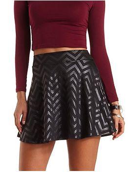 textured-chevron-skater-skirt by charlotte-russe