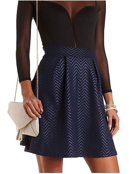 chevron-textured-skater-skirt by charlotte-russe