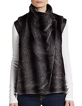 zip-front-faux-fur-vest by evleo