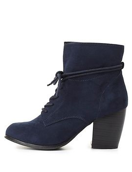 slouchy-lace-up-ankle-boots by charlotte-russe