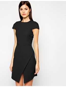 asos-dress-in-bonded-crepe-with-asymmetric-hem by asos-collection