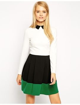 asos-color-block-skater-dress-with-collar by asos-collection