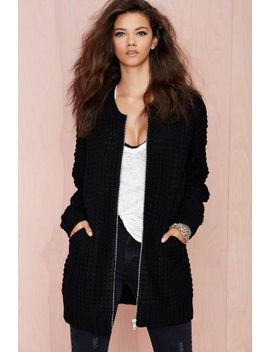 so-game-baseball-sweater-jacket by nasty-gal