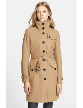 rushfield-wool-blend-stand-collar-coat by burberry-brit