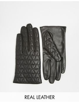 asos-leather-gloves-with-heart-quilted-and-touch-screen-detail by asos-collection