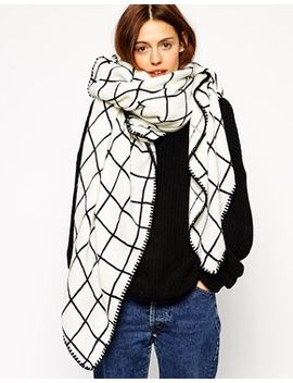 asos-oversized-grid-check-square-scarf by asos-collection