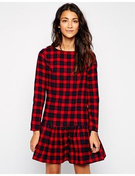 influence-checked-dropped-hem-dress by influence