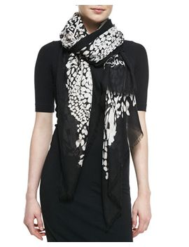 grace-feather-leopard-scarf,-black_white by diane-von-furstenberg
