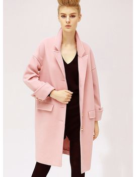 pink-long-sleeve-lapel-oversized-cocoon-coat by sheinside