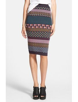 sweater-print-pencil-skirt by re:named