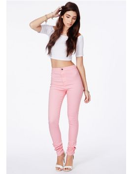 brigitte-disco-fit-skinny-jeans-in-baby-pink by missguided