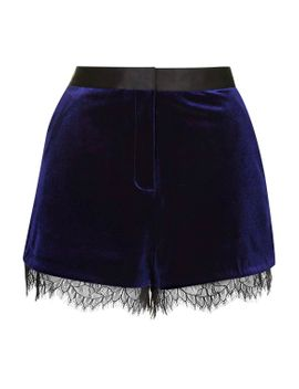 velvet-lace-trim-runner-shorts by topshop