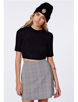 anisah-mid-sleeve-jersey-ribbed-crop-top-black by missguided