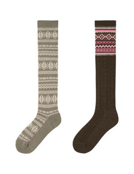 women-heattech-knee-high-socks-2p-(fair-isle) by uniqlo