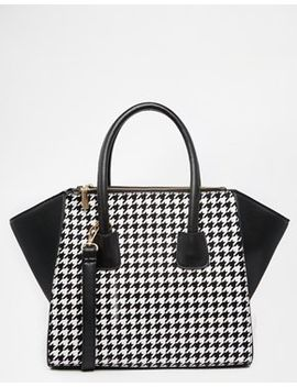 johnny-loves-rosie-tote-bag-with-houndstooth-panel by johnny-loves-rosie