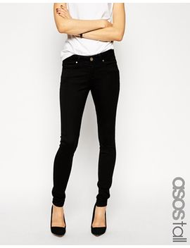 asos-tall-lisbon-skinny-mid-rise-jeans-in-clean-black by asos-tall