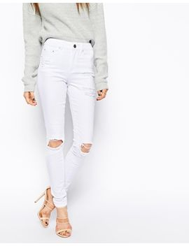 asos-ridley-skinny-jeans-in-white-with-thigh-rip-and-busted-knees by asos-collection
