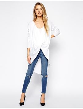 asos-jumper-with-drape-front by asos-collection