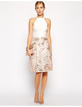 asos-premium-skirt-in-pink-floral-jacquard-with-bow-detail by asos-collection